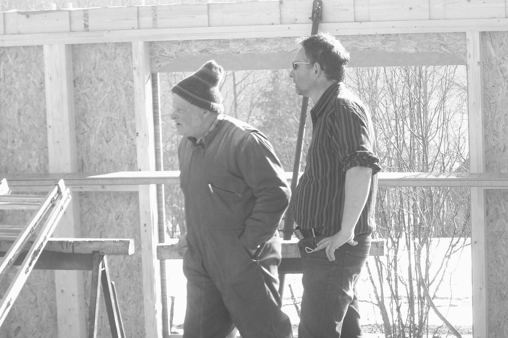 Dominique et Jean-Louis sur un chantier au Luisans